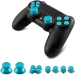 kwmobile Teclas de repuesto para Playstation 4 Dualshock en azul - 4 teclas 2 thumbsticks 1 Touchpad 7 botones 1 cruz