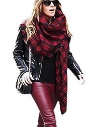 FINEJO Women Men Wool Blend Tartan Plaid Soft Scarf Wrap Shawl Blanket Stole Pashmina Red