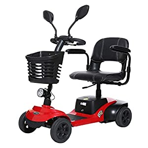 EMOGA Light And Compact, Foldable,4 Wheel Power Electric Travel And Mobility Scooter,42Cm Wide Seat,Black Red