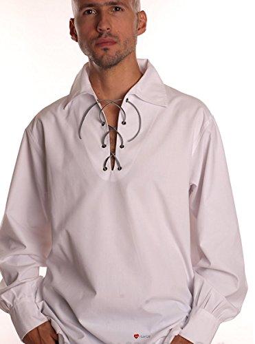 Mens Basic Traditional Design Scottish Ghillie Kilt Jacobite Shirt Leather Strap White