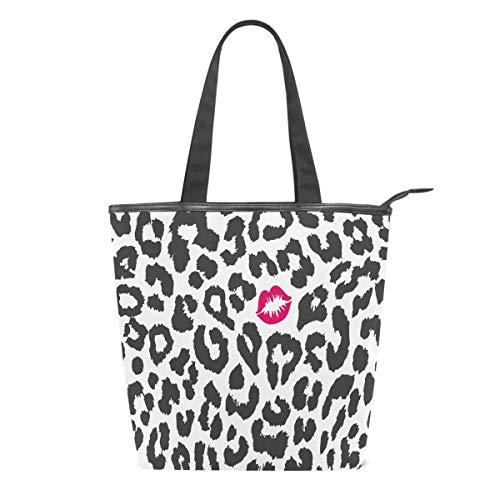 Bolso de Lona para Mujer, diseño de Leopardo, Color Rojo, para Escuela, Libro, Hombro, Compras, Laptop, para Escuela, Playa, Viajes, Trabajo, Gimnasio, Uso Diario