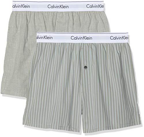 Calvin Klein Herren Boxer Slim 2PK Boxershorts, Grau (Trad Stripe Wisdom/Grey Heather Knj), X-Large (Herstellergröße: XL) (Calvin Klein Unterwäsche Herren 2 Pack)