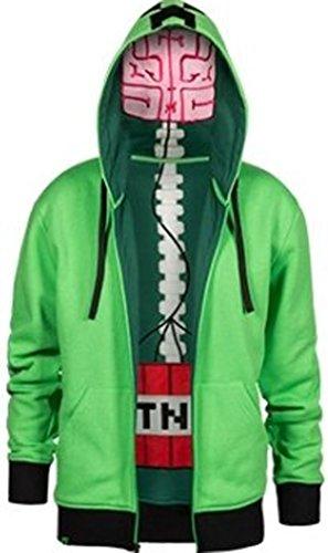 Offizielles Minecraft-Creeper Anatomie-Premium Zip Up Youth Hoodie in grün Gr. XS, grün