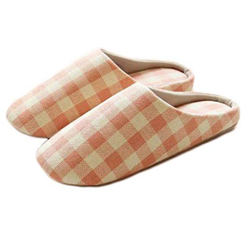 Fortuning's JDS Unisex adulti coppia accogliente cotone Casa Calzature stile semplice Reticolo confortevole Flatform pantofole Rosa