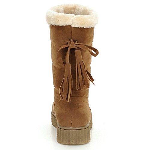 TAOFFEN Damen Flache Winter Warm Halbschaft Schnee Stiefel Gelb
