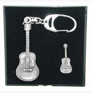 Pewter Keyring and Pin Badge Gift Set-Acoustic Guitar