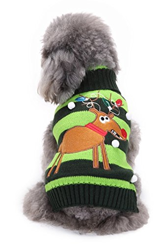 Niedliche Festive Weihnachten grün & schwarz Rentier gestreift Hund Katze Warm Winter Knit Jumper Lichter an Geweih (Dress Ideen Rentier Up)