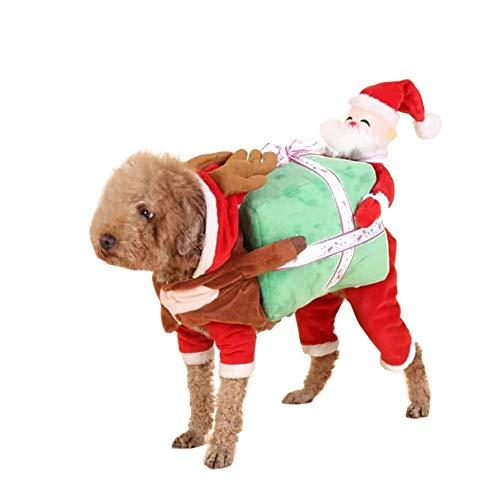 QLF Jüngeres Haustierkostüm für Hunde und Katzen, mit Geschenkbox, Rot und Grün