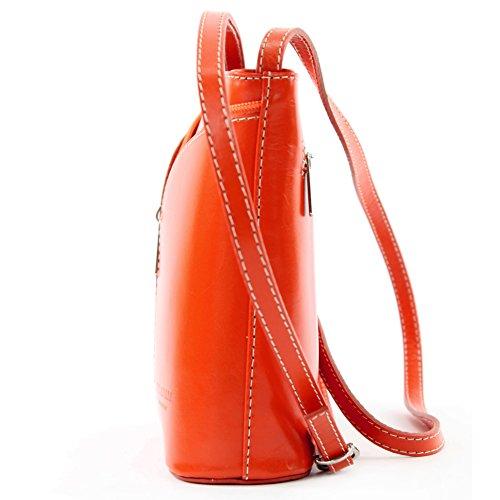 Borsa a tracolla piccola per donna, pelle italiana Strauß D19 Orange