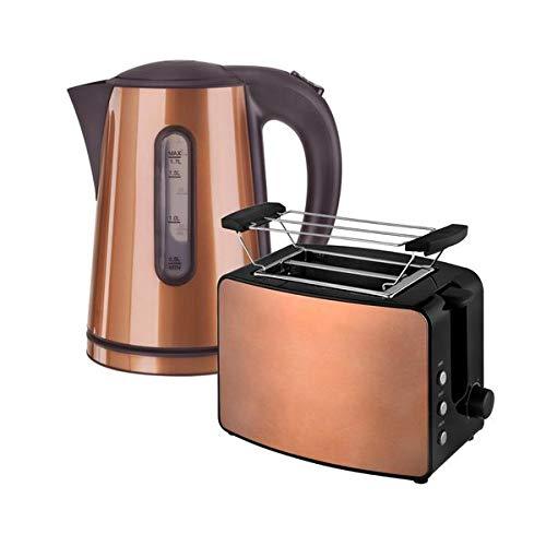 Kalorik Frühstücksset JK 1200 & to 1220 Wasserkocher 1,7 Liter und 2-Scheiben-Toaster Havanna Kupfer-braun