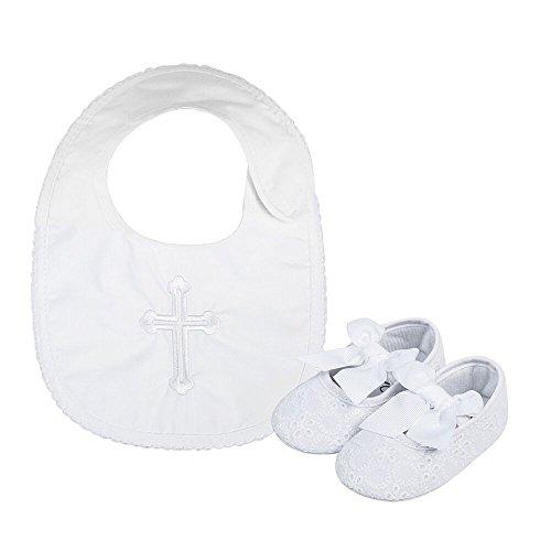 LACOFIA Baby Mädchen Rutschfest Weiche Sohle Bowknot weiß Taufe Schuhe mit Bestickten Kreuz Taufe Lätzchen 3-6 Monate