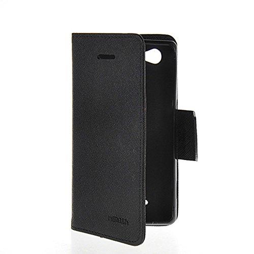 COOLKE Xperia M Hülle, Mode Zwei Farben magnetische Leder Tasche Flip Case Cover Schutzhülle Hülle Schale Für Sony Xperia M C1904 C1905-Schwarz