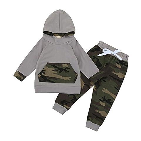 Bekleidung Longra Kleinkind Kind Baby Jungen Set Kleidung mit Kapuze Hoodie Tops Anzug-Jacke + Hosen Camouflage Outfits(0-24Monate) (100CM 24Monate, (Kleinkind-jungen Set)