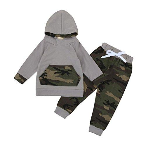 Bekleidung Longra Kleinkind Kind Baby Jungen Set Kleidung mit Kapuze Hoodie Tops Anzug-Jacke + Hosen Camouflage Outfits(0-24Monate) (90CM 18Monate, (Stadt Kostüme Party 60)