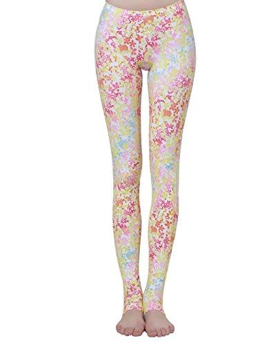 JHKJ Frauen Surfen Yoga Tauchen Elastische Legging Swim Tights Schwimmen Hosen Floral Schwarz/Floral Weiß,White,M Weiß Floral Tights