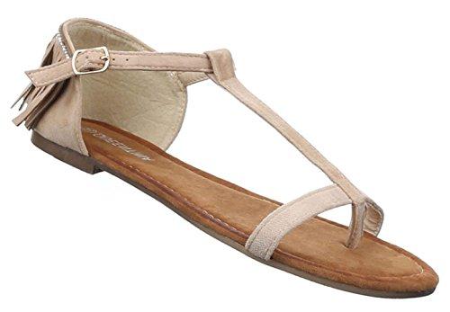 Damen Sandalen Schuhe Dianetten Zehentrenner Damenschuhe Schwarz Beige Rosa 36 37 38 39 40 41