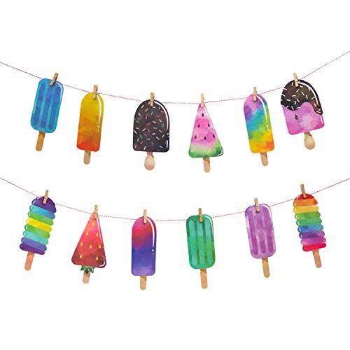 (Oblique Unique® Girlande Eiscreme EIS am Stiel Sonne Sommer Spaß Party Deko)