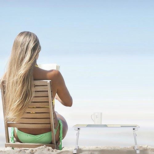 MAPUX Multifunktionstisch Tragbar Höhenverstellbar und Winkelverstellbar Laptoptisch Laptopständer Betttisch NoteBooktisch Bücherständer für Sofa, Bett, Terrasse, Balkon, Garten usw. - 6