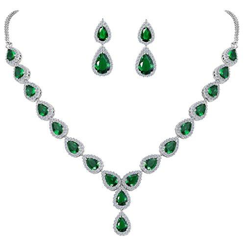 Clearine Mujer Conjunto de Joyas Juego de Joyas Boda Nupcial Lágrima Infinito Figure 8 Y-Collar Esmeralda