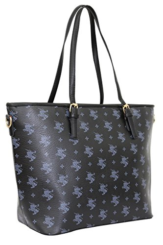 SARA Damen Handtasche , Schultertasche, Shopper PU 1711 Schwarz