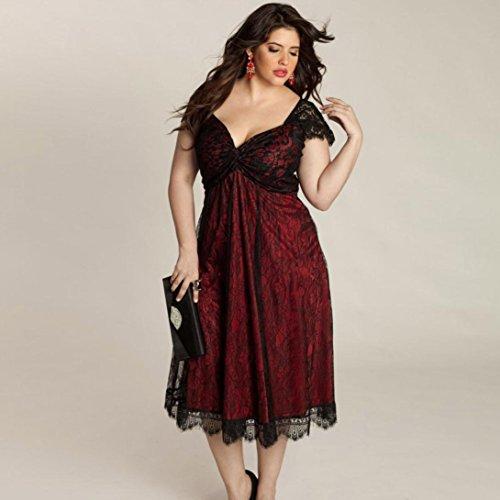 Women Dress,Plus Size Women Sleeveless Lace Long Evening Party Formal Dress (2XL, Red)
