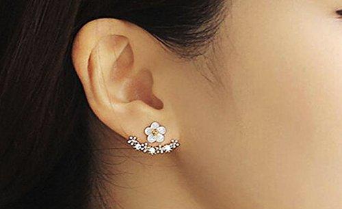VJGOAL Damen Ohrringe, 1 Paar Frauen Mode Blume Kristall Ohrstecker Ohrringe Ohrring Schmuck Frau Valentinstag Geschenk (Silber)