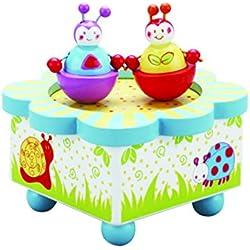 Caja de música multicolor Wiggly Bug - Caja de madera de música con figuras móviles magnéticas - Cajas de música infantiles