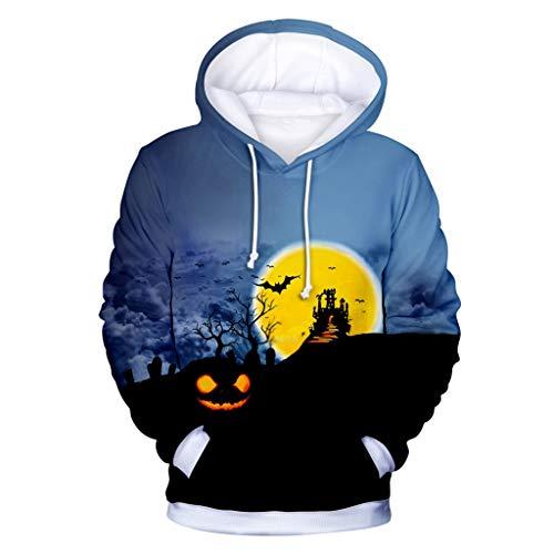 SSUPLYMY Unisex Kapuzenpullover, 2019 3D Druck Langarm Sweatshirt Mode Hoodie Mit Taschen Kapuzenjacke Halloween Blumendruck Sweatshirt Frauen Männer Couple Pullover