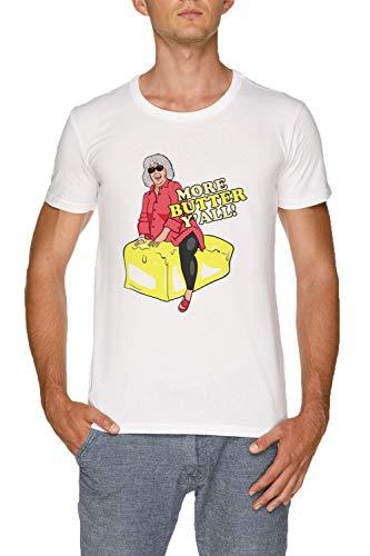 More Butter Yall! Herren Weiß T-Shirt Größe M   Men's White T-Shirt Size M -