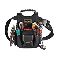 Baffect Electrician Pouch,20 Pockets Canvas Tool Pocket Pouch Belt with Adjustable Nylon Belt Heavy Duty Professional Electrician Tool Pouch Waist Work Pouch for Electricians Technician