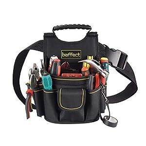 Baffect Bolsa de electricista, 20 bolsillos Cinturón de bolsa de herramientas de lona con cinturón de nylon ajustable Bolsa de herramientas de electricista Cintura Bolsa de trabajo