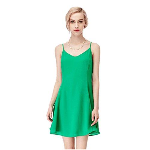 1ca37795c None-Branded-Estido De La Manera / Falda / Falda / Falda De Gasa / Vestido  De Cabestro , green , L