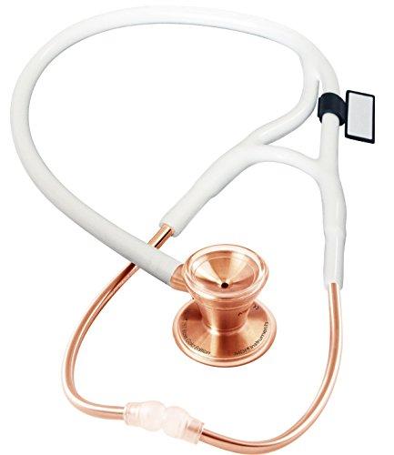MDF® Classic Cardiology - Klassisches Kardiologie-Zweikopf-Stethoskop - mit Bruststück und Kopfteil aus rostfreiem Stahl - Gratis-Parts-for-Life & Lebenslange-Garantie - Roségold/Weiß (MDF797RG-29)