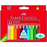 Faber Castell Wachsmalkreiden Dreikant mit Papierbanderole 12 Farben sortiert.