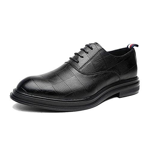 Sunny&baby scarpe da lavoro in pelle pu da uomo classiche mocassini con lacci square texture strong outsole oxfords resistente all'abrasione ( color : nero , dimensione : 43 eu )