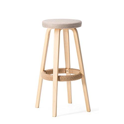 Stile semplice, legno solido, cuscino morbido monocromatico, bar sedia creativa sedia in legno in stile europeo sgabello vintage bar sgabello altezza 69cm (colore : a)