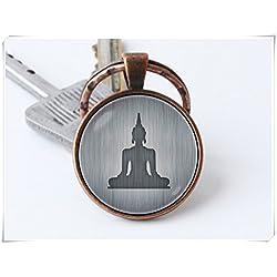 Llavero de Buda meditación espiritual joyería Yoga clave cadena