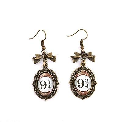 Boucles d'oreilles Platform 9 3/4 Harry Potter Sorcier Wizard Poudlard Hogwarts : Cabochons en verre d'inspiration vintage. avec breloque noeud
