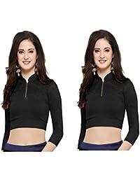 Fressia Fabrics Women's Cotton Stretchable Saree Blouse Crop Top Choli (Black, Free Size) - Pack Of 2