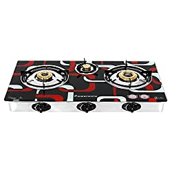 New Model Highly Efficient, Smooth and Strong Square Texture Crystal 3 Burner Auto Gas Stove / Cooktop / Chulha With Brass Burners With Premium Finish Toughened Glass Top and Coated Pan Supports (Back side Multi-directional Nozzle) All In One / Kitchen Tool / Kitchen Accessories / Kitchen Gadgets BY - Poweronic