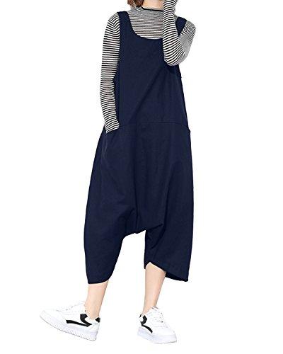 StyleDome Damen Lässig Insgesamt Baggy Taschen Lange Harem Playsuit Hose Jumpsuits Overalls (44, Blau677130)