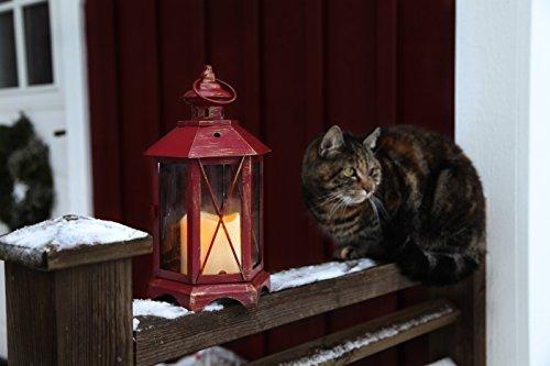 Romantisch dekorative LED Laterne 30 cm x 17 cm aus Metall und Glas - in ROT / ROSTROT - mit LED - Kerze flackernd - inklusive Timer, für Innen und Außen - Bereich - OUTDOOR - NEU - aus dem KAMACA-SHOP
