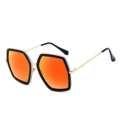 SUNGLASSES Neue Bunte Sonnenbrille große Rahmen Sonnenbrille Bunte quecksilber Trend gläser (Farbe : Bright Black Box red Mercury)
