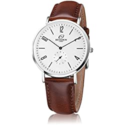 Besseron Mens Watch Sliver Stainless Steel Quartz with Brown Leather Band + a Luxury Watch Box