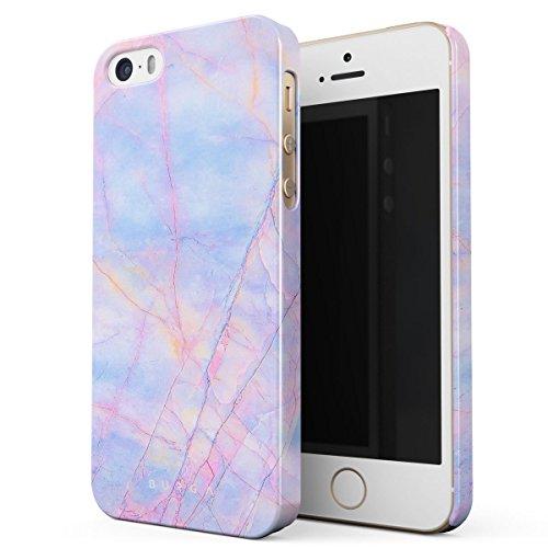 Cover iPhone 5 / 5s / SE Nero Marmo, BURGA Black Marble Design Sottile, Guscio Resistente In Plastica Dura, Custodia Protettiva Per iPhone 5 / 5s / SE Case Cotton Candy