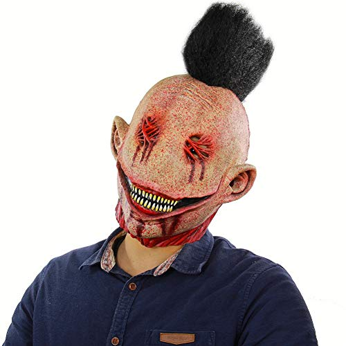 WSJMJTM Halloween Creepy Mask Zombie Maske Adult Scary Full Face Horror Evil Verdammt Große Nadel Punk Clown Scary Monster - Adult Punk Zombie Kostüm