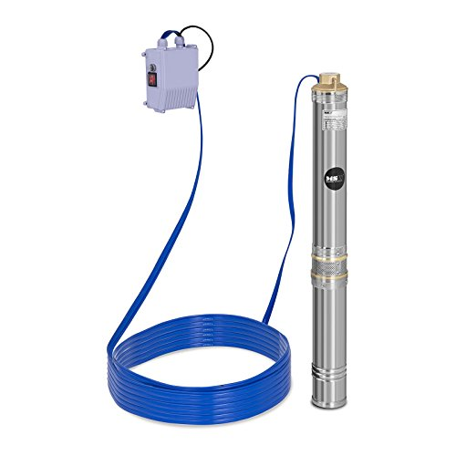 MSW Tiefbrunnenpumpe Tauchpumpe Brunnenpumpe MSW-SPP44-075 (Fördermenge max.: 6.000 l/h, 750 W, Fördertiefe max.: 72 m, Ø 95 mm, inkl. Schaltkasten, Edelstahl)