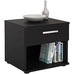 IDIMEX Table de Chevet MAEL, Table de Nuit casier avec 1 tiroir et 1 Niche, en mélaminé Noir Mat