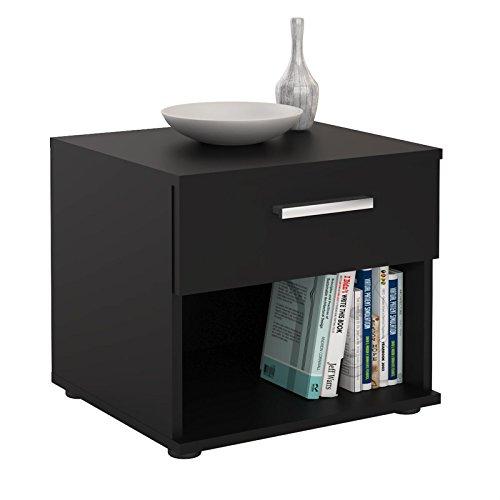 CARO-Möbel Nachttisch Nachtschrank Nachtkommode Mary schwarz, 42 x 38 x 30 cm, mit Schublade und offenem Fach -