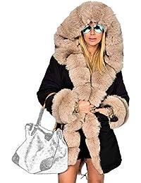 Laisla fashion Donna Piumini con Cappuccio in Pelliccia Invernali Caldo  Elegante Lunga Slim Fit Addensare Piumino 425a933a2b7d